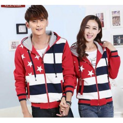Jacket Bintang Lima Merah - Jacket Couple / Baju Pasangan / Grosir / Supplier Couple