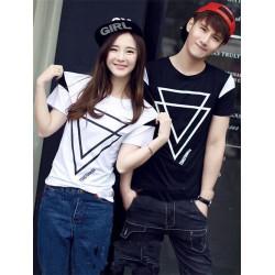 Segitiga Hitam Putih - Baju Couple / Kaos Pasangan / Fashion / Supplier / Couple