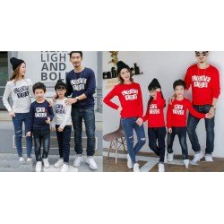 FM2 Sweater Love Too Merah - Baju Keluarga / Family Couple / Grosir Couple