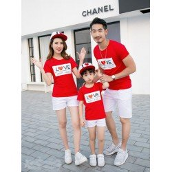 FM Love Happy - Kaos / Family / 1 Anak / Couple / Fashion / Pasangan / Supplier / Grosir / Murah / Unik