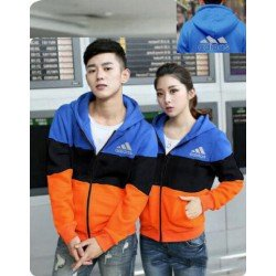 Jacket Adidas Block Biru Hitam - Jacket Couple / Baju Pasangan / Grosir / Supplier Couple
