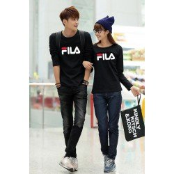 LP Fila Hitam - Baju Couple / Kaos Pasangan / Fashion Couple / Grosir