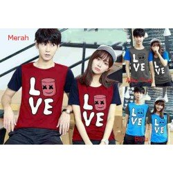 Love Marshmello - Supplier / Kaos / Couple / Pasangan / Lengan Pendek / Jual