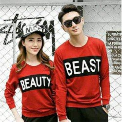 Sweater Beauty Beast Merah - Sweater Couple / Fashion / Supplier / Grosir