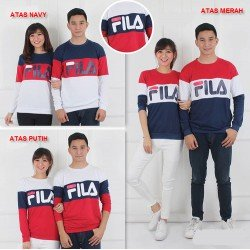 Sweater Fila Kombinasi - Mantel / Busana / Fashion / Couple / Pasangan / Babyterry / Kasual