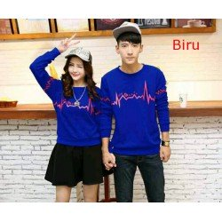 Sweater Love Diagram Biru - Sweater Couple / Supplier Couple / Pasangan / Fashion Couple