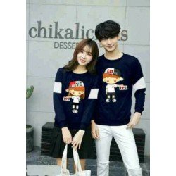 Sweater Love Hat Navy - Mantel / Busana / Fashion / Couple / Pasangan / Babyterry / Kasual