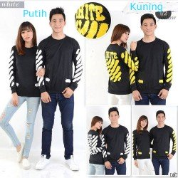 Sweater Off White Kuning - Sweater Couple / Supplier Couple / Pasangan / Fashion Couple