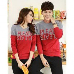 Sweater Pleats Abu Merah - Sweater Couple / Fashion / Supplier / Grosir