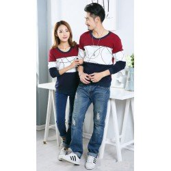 Sweater Round Kombinasi - Mantel / Busana / Fashion / Couple / Pasangan / Babyterry / Kasual