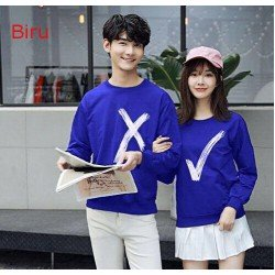 Sweater Wrong Right Biru - Sweater Couple / Supplier Couple / Pasangan / Fashion Couple