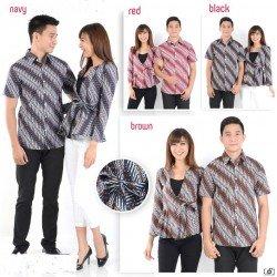 Batik Samantha Coklat - Kemeja Couple / Batik Couple / Pasangan / Supplier / Couple