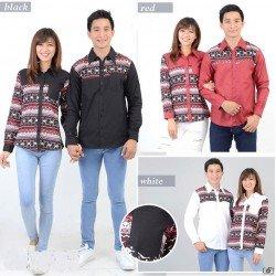 Rami Sun Merah - Kemeja Couple / Batik Couple / Baju Pasangan / Grosir / Couple